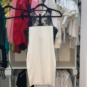 White with black lace bodycon dress
